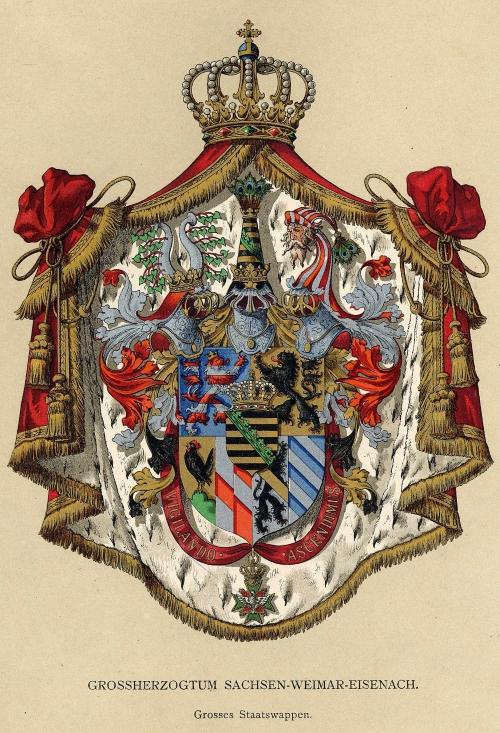 Wappenabbildung Großes Staatswappen des Großherzogtums Sachsen-Weimar-Eisenach / Quelle: Ströhl, Hugo Gerhard: Deutsche Wappenrolle. Stuttgart 1897, Tafel XI. (Alle Rechte vorbehalten.)