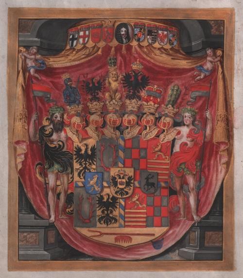 Wappenabbildung des Fürstentums Schwarzburg-Sondershausen / Quelle: LATh – StA Rudolstadt, 5-11-2010 Sondershäuser Urkunden 4987, Urkunde vom 3. September 1697 (Alle Rechte vorbehalten.)