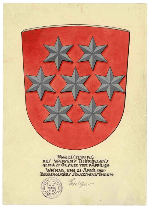 Thüringer Landeswappen 1921-1933, eingeführt durch Gesetz vom 7. April 1921 (Zeichnung von Adolf von den Velden) / Quelle: LaTh - HStA Weimar, Urkunde 1921 April 7 (Alle Rechte vorbehalten.)
